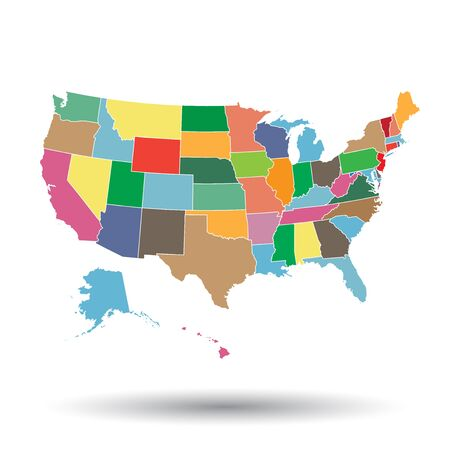 High detailed USA map with federal states. Vector illustration United states of America. Иллюстрация