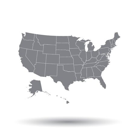 High detailed USA map with federal states. Vector illustration United states of America on isolated background.