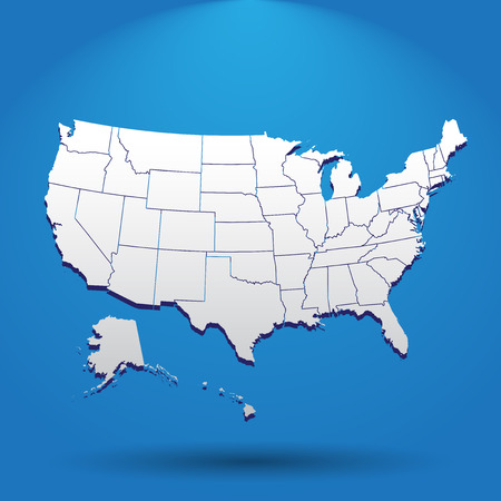 High detailed USA map with federal states. Vector illustration United states of America on blue background. Illustration