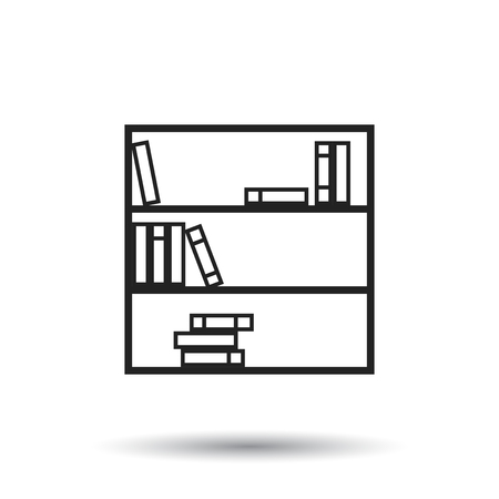 interior decoration: Bookcase furniture icon. Office book vector illustration on white background. Illustration