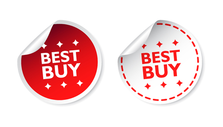 Best buy sticker. Business sale red tag label vector illustration on white background.