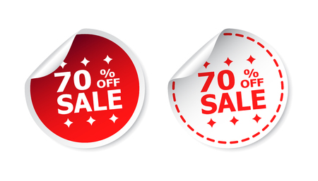 Sale sticker. Sale up to 70 percents. Business sale red tag label vector illustration on white background.