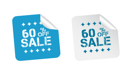 Sale stickers 60% percent off. Vector illustration on white background. Illustration