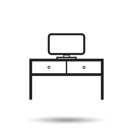 Furniture table with laptop computer icon. Table vector illustration on white background. Illustration