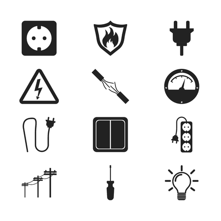 Electricity icon. Vector illustration in flat style on white background