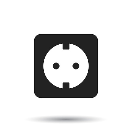 Extension cord vector icon. Electric power socket flat illustration on white background. Иллюстрация