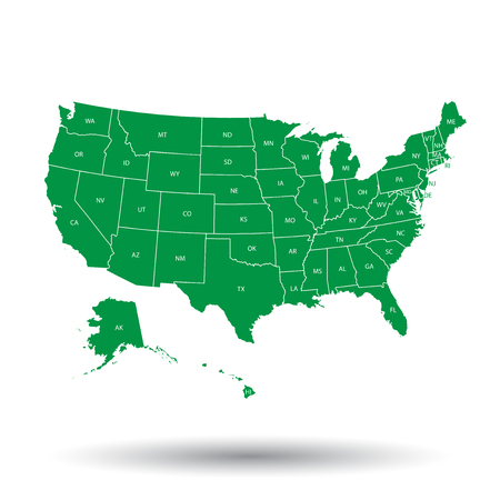 kansas: USA map with federal states. Vector illustration United states of America. Illustration
