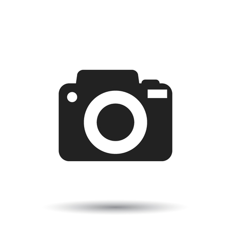 Camera icon on isolated background. Flat vector illustration.