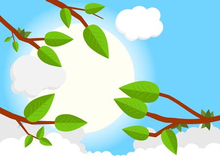 Cartoon sunset day. Flat vector illustration, trees, leaf, sun, clouds. Illustration