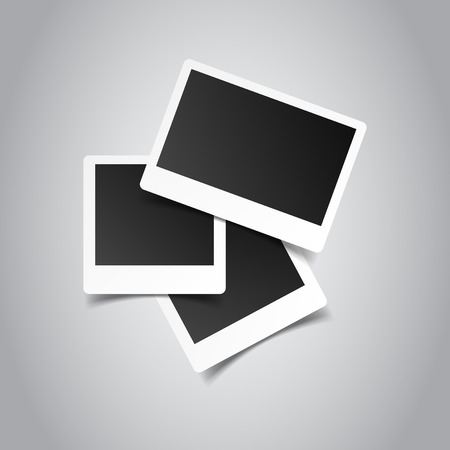 Blank retro photo frames on grey background. Vector illustration.