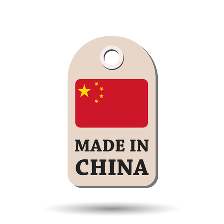Hang tag made in China with flag. Vector illustration on white background.