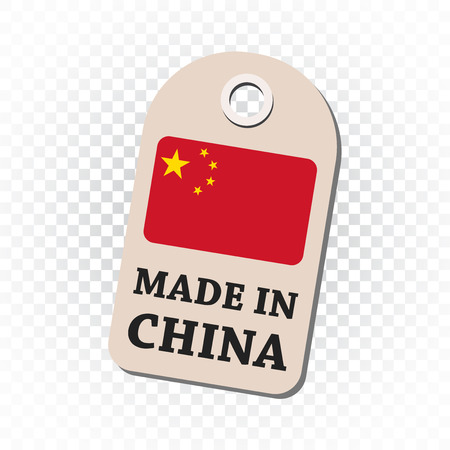 fabrication: Hang tag made in China with flag. Vector illustration on isolated background.