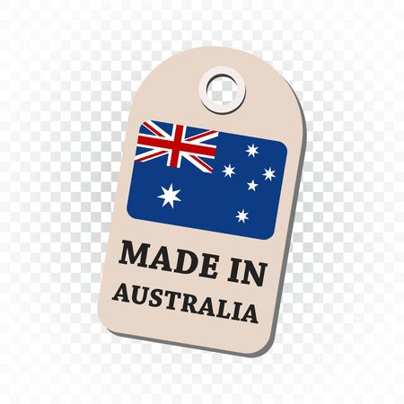 fabrication: Hang tag made in Australia with flag. Vector illustration on isolated background.