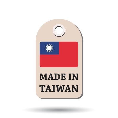 Hang tag made in Taiwan with flag. Vector illustration on white background.