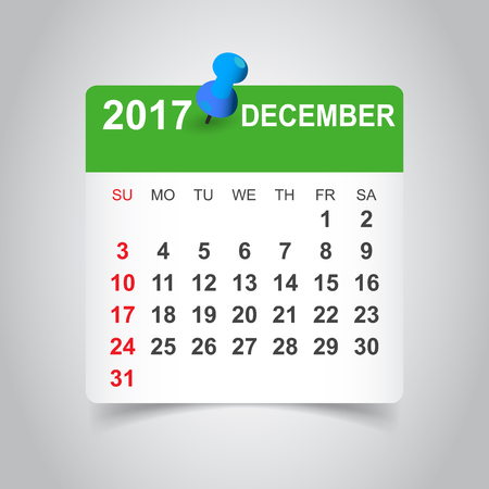 December 2017 calendar. Business vector illustration.