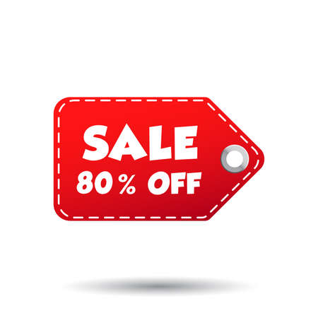 reductions: Sale 80% off tag. Label vector illustration on white background Illustration