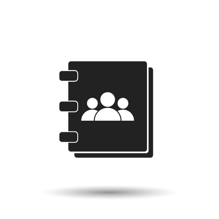 Address book icon. Contact note flat vector illustration on white background. Illustration