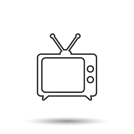 Tv Icon vector illustration in line style isolated on white background. Television symbol for web site design, logo, app, ui. 向量圖像
