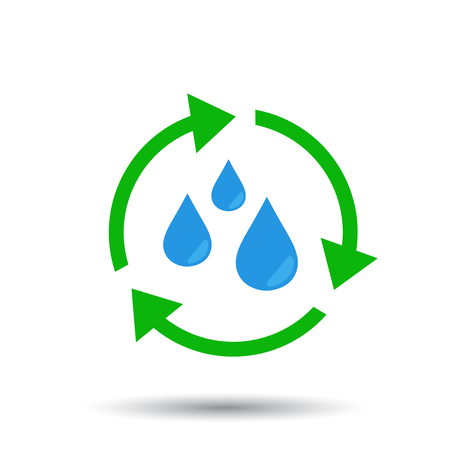 Water cycle icon. Flat vector illustration