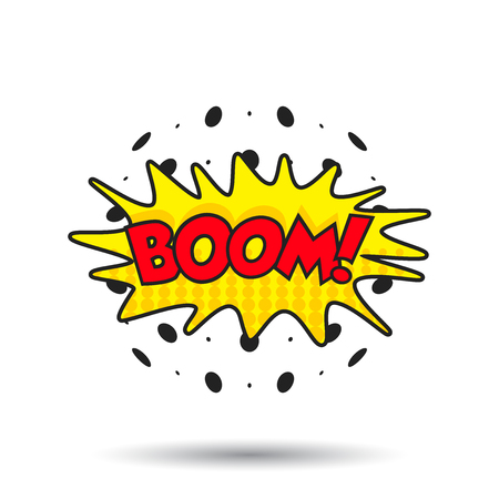 incident: Boom comic sound effects. Sound bubble speech with word and comic cartoon expression sounds vector illustration.