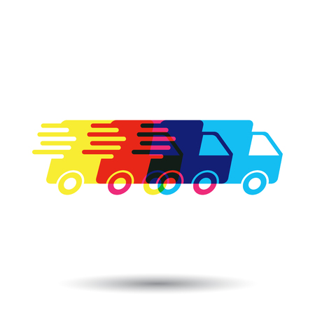 Delivery truck logo vector illustration. Fast delivery service shipping icon. Simple flat pictogram for business, marketing or mobile app internet concept Illustration