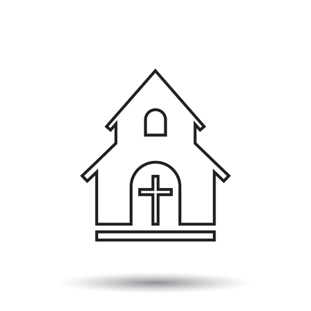 Line church sanctuary vector illustration icon. Simple flat pictogram for business, marketing, mobile app, internet on white background