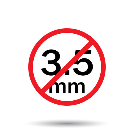 Audio jack 3.5mm in ban sign. Icon vector illustration.