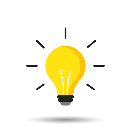 Halogen lightbulb icon. Light bulb sign. Electricity and idea symbol. Icon on white background. Flat vector illustration. 矢量图像