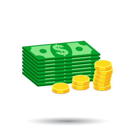 Stacks of gold coins and stacks of dollar cash. Vector illustration in flat design on white background