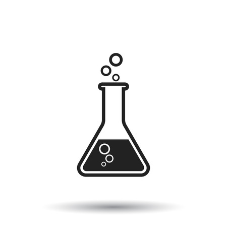 Chemical test tube pictogram icon. Chemical lab equipment isolated on white background. Experiment flasks for science experiment. Trendy modern vector symbol. Simple flat illustration Illustration