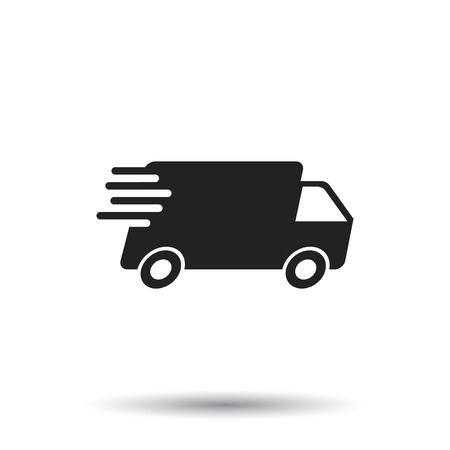 Delivery truck vector illustration. Fast delivery service shipping icon. Simple flat pictogram for business, marketing or mobile app internet concept