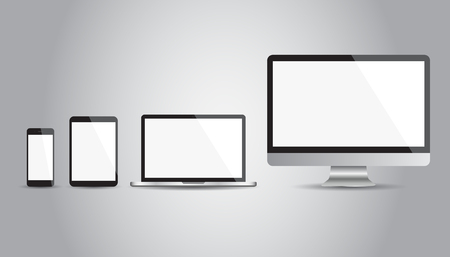 Modern illustration of a  flat Icons: smartphone, tablet, laptop and desktop computer. Vector illustration on gray background