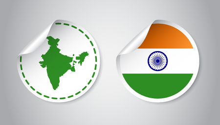 India sticker with flag and map. Label, round tag with country. Vector illustration on gray background.