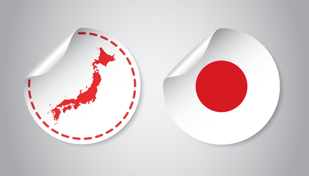 A Japan sticker with flag and map. Label, round tag with country. Vector illustration on gray background. Illustration