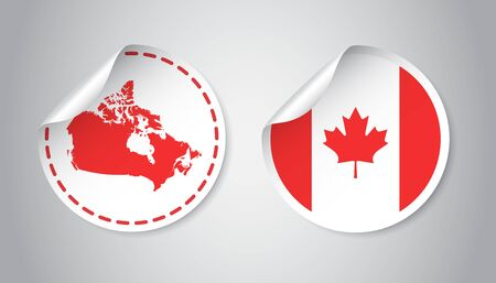 canada stamp: A Canada sticker with flag and map. Label, round tag with country. Vector illustration on gray background. Illustration