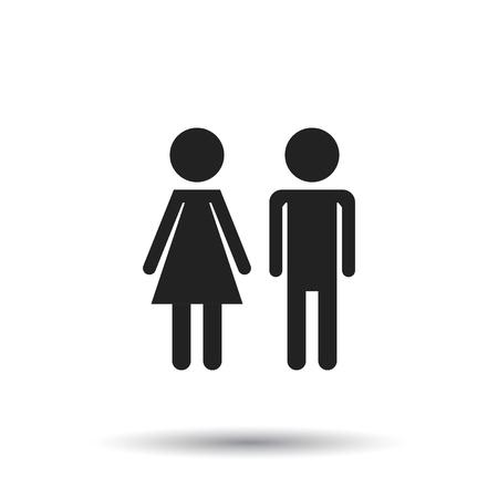 Vector man and woman icon on white background. Modern flat pictogram. Simple flat symbol for web site design. Ilustração