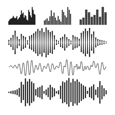 Sound waveforms icon. Illustration
