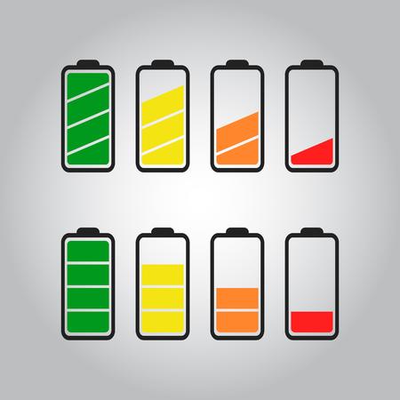 Battery icon set. Stock Illustratie