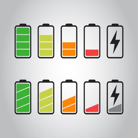 Battery icon set. Illustration