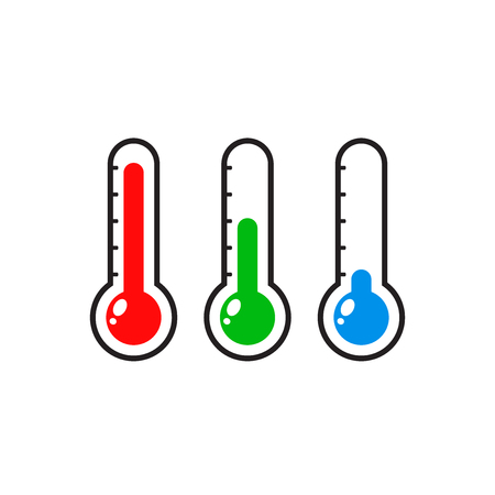 Thermometers icon with different levels. 矢量图像