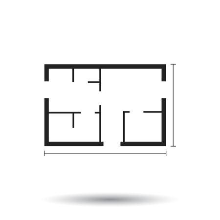 kitchen furniture: House plan simple flat icon. Illustration