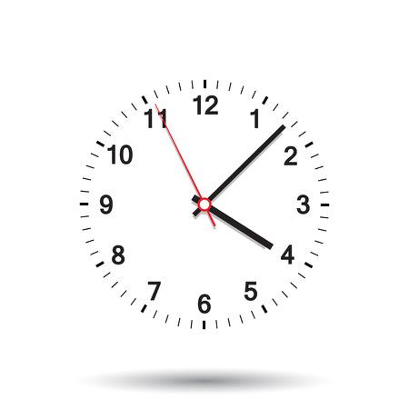 時計アイコンのベクター イラストです。孤立した背景に会社の時計。