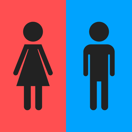 cleanliness: WC, toilet flat vector icon. Men and women sign for restroom Illustration