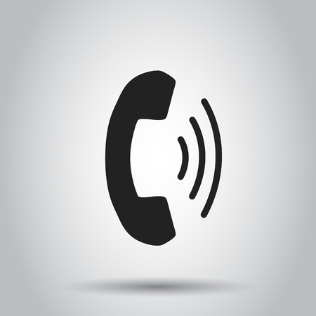old phone: Phone icon vector, contact, support service sign on gray background. Telephone, communication icon in flat style.