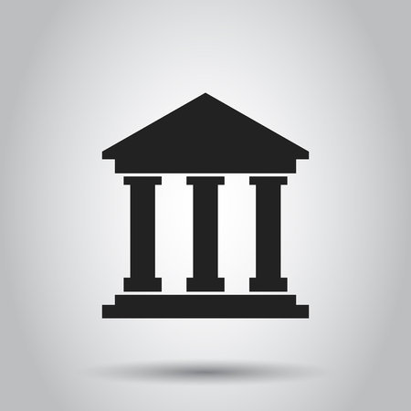 Bank building icon in flat style. Museum vector illustration on gray background. Imagens - 75812640