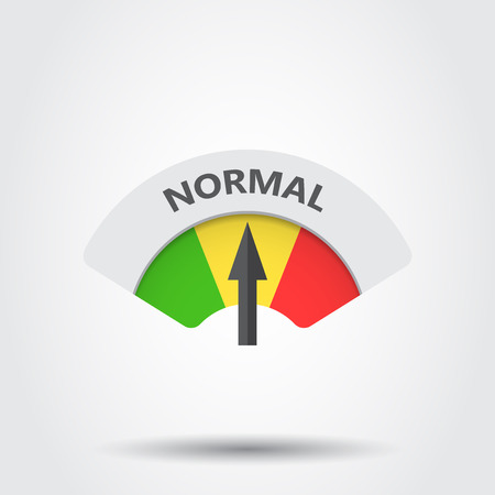 Normal level risk gauge vector icon. Normal fuel illustration on gray background.