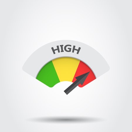 scale icon: High level risk gauge vector icon. High fuel illustration on gray background.