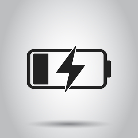 Battery charge level indicator. Vector illustration on gray background.
