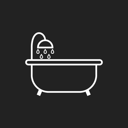 Bathtub vector icon. Bathroom shower vector illustration on black background.