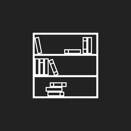 modern living room: Bookcase furniture icon. Office book vector illustration on black background. Illustration